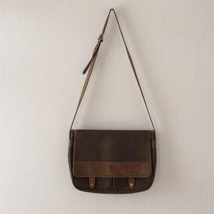 Didier LaMarthe Paris leather messenger bag.