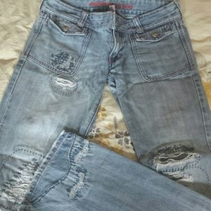 Distressed denim Abercrombie & Fitch jeans.