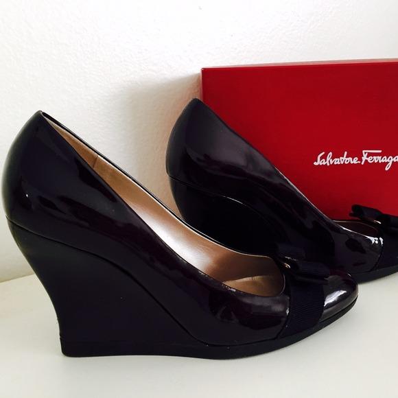 56ca98559c Salvatore Ferragamo Black Patent  Nosy  Wedges. M 54c6af41e989551c3d2665f8
