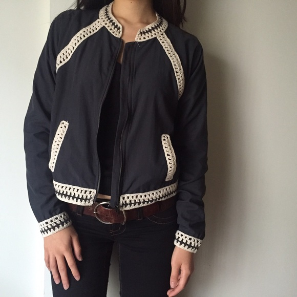 Free People Jackets & Blazers - Host Pick!! Free People Blue Crochet Bomber Jacket
