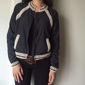 Free People Jackets & Coats - Host Pick!! Free People Blue Crochet Bomber Jacket