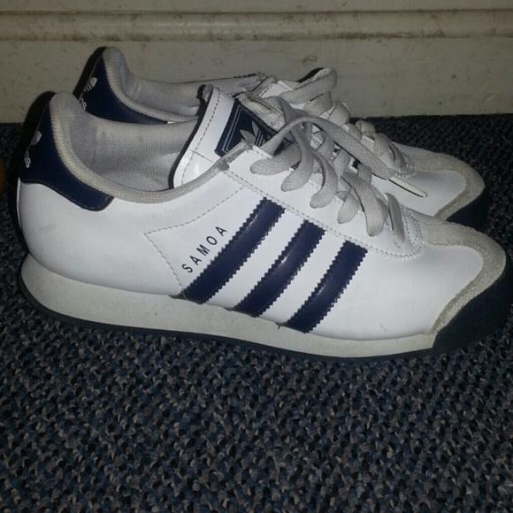 samoa adidas blue and white indoor