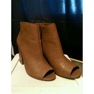 Brown Peep Toe Booties