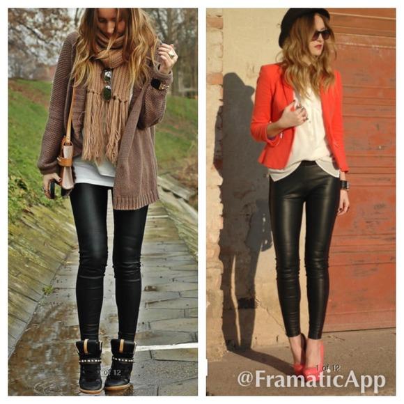 NWT Zara black faux leather pants