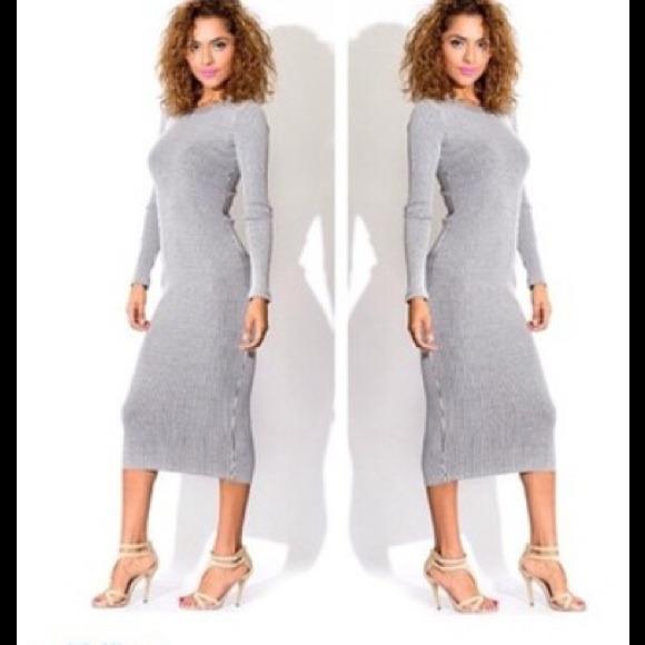95be294743d H M Dresses   Skirts - HM - Heather Grey Ribbed Midi Dress