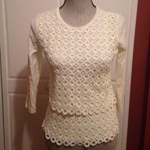 Jcrew lace top. XXS. Winter white.