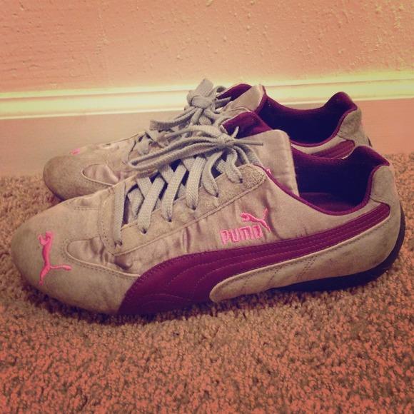 Grey And Purple Puma Tennis Shoes