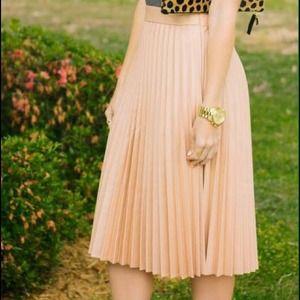 cacab526 Zara Skirts | Nude Pink Coated Pleated Skirt Small | Poshmark