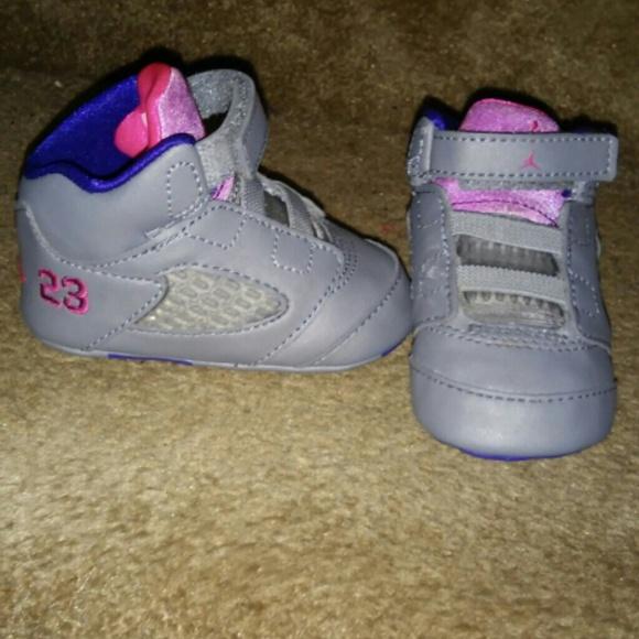 retro 5 baby girl grey jordans 2c
