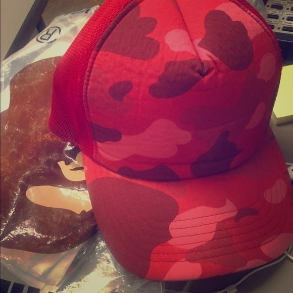 Bape Accessories - Red camo Bape trucker hat e5915a2ab