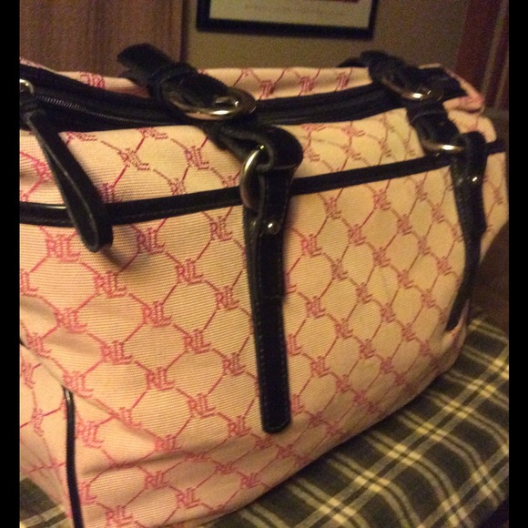 d9376d5e3f Pink and black Ralph Lauren Monogram tote. M 54c742b9c1d1c32b002b4c26