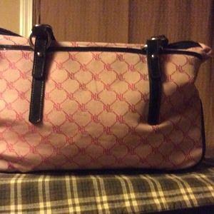 6d307cf8ef Ralph Lauren Bags - Pink and black Ralph Lauren Monogram tote