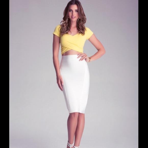 27% off bebe Dresses & Skirts - White Bebe bodycon bandage midi ...