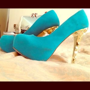 Blue Suede and Gold Shi High Heels size 6.5