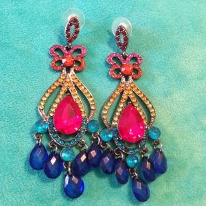 Gorgeous Multicolored Chandelier Earrings
