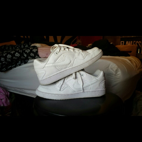 White Nike son air force ones