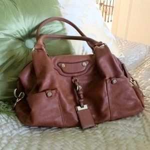 Cognac faux leather purse