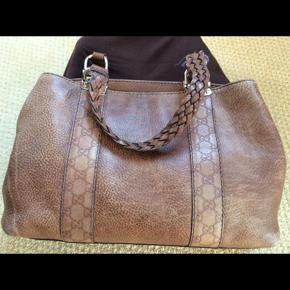 6d07a935f82 Gucci Handbags - Gucci Guccissimsa Brown Pebbled Leather Tote