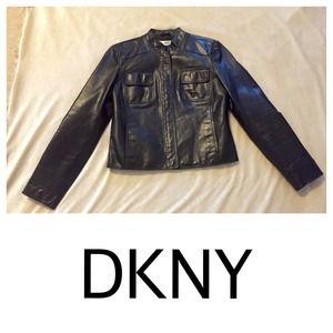 DKNY black leather jacket Sz 4