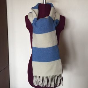 J.Crew Blue White Stripe Lambs Wool Scarf