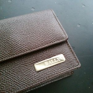 Bally brown leather wallet card case
