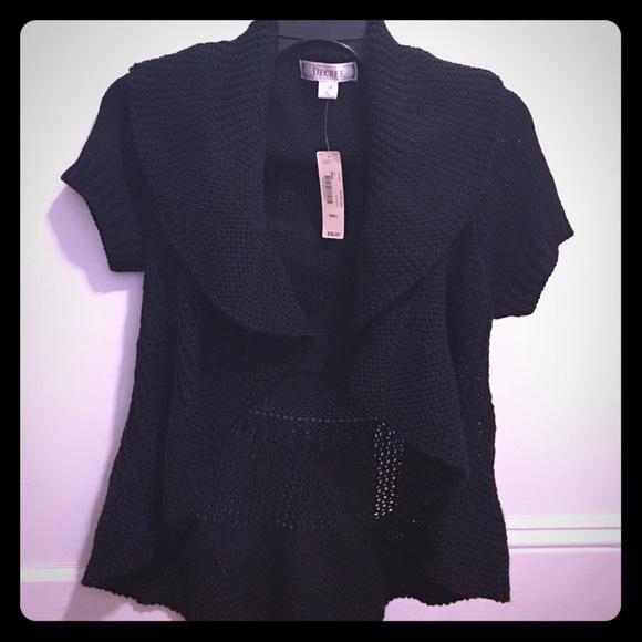 81% off Decree Sweaters - Black Short Sleeve Ruffle Cardigan from ...