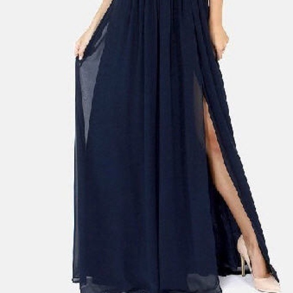 85% off Dresses & Skirts - Navy Greek Style Chiffon Maxi Dress ...