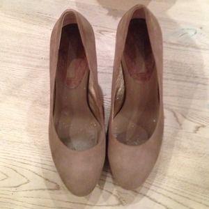 Tan suede high heels