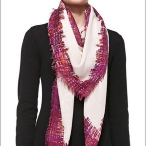 Tory Burch Print Fringe Scarf, Blush Painted NWT