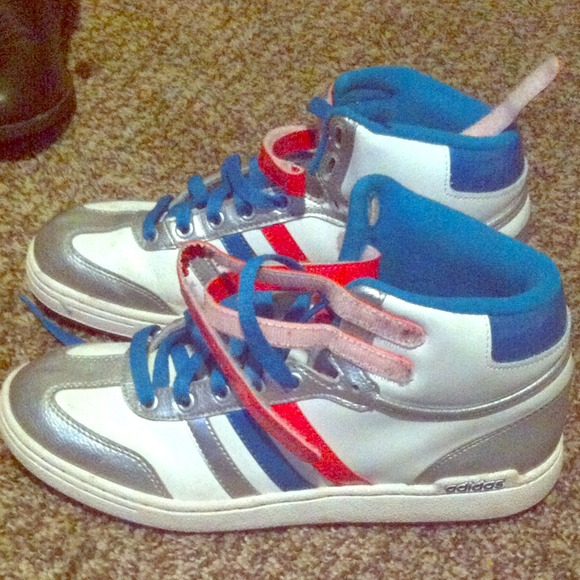 46 adidas shoes blue and pink adidas high tops from
