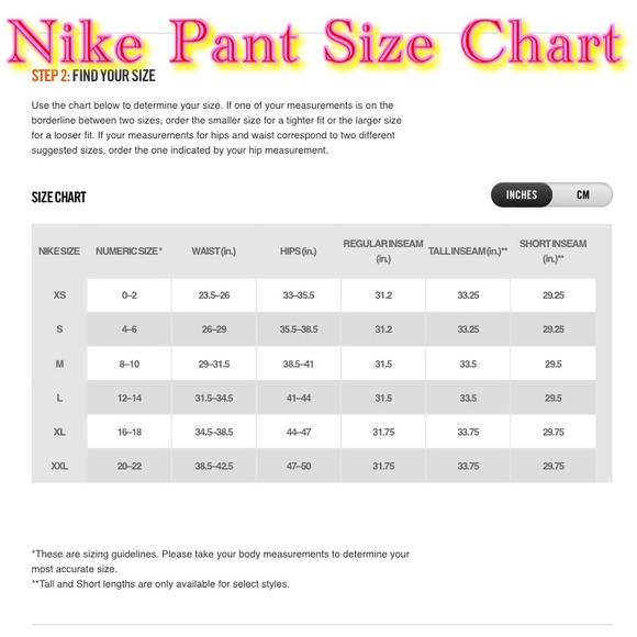 Nike other size chart poshmark