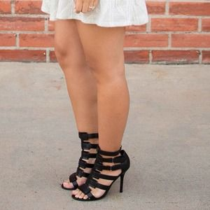 Wild Diva Shoes - Black Strappy Heels