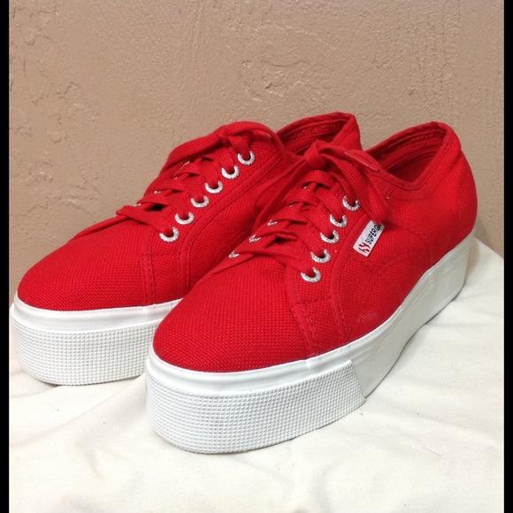 platform velvet sneakers - Red Superga euFIn