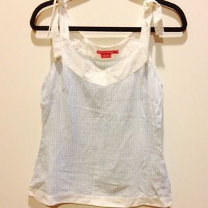 Linen blue and white strip tank