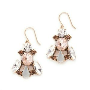 J CREW Crystal & Stone Row Earrings NWT
