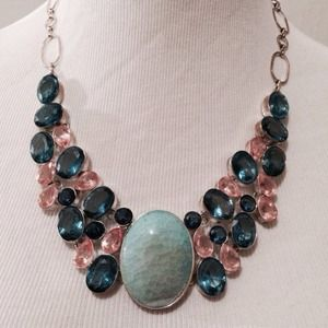 Blue Pink Statement Necklace