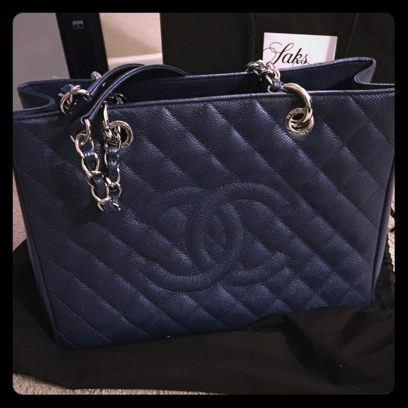 CHANEL Bags | Grand Shopper In Navy | Poshmark