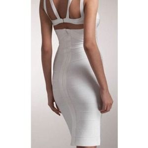 White XS bandage bodycon cut out structured dress
