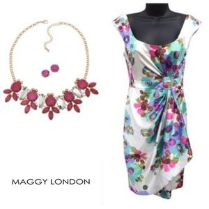 NWOT Maggy London Floral Ruche Dress