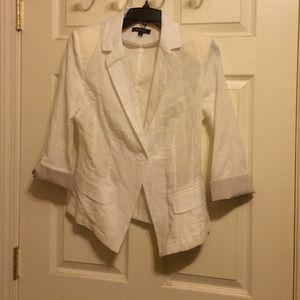 zinga Jackets & Blazers - White Linen Blazer