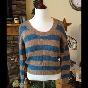 Turquoise and Light Brown striped Crop Sweater