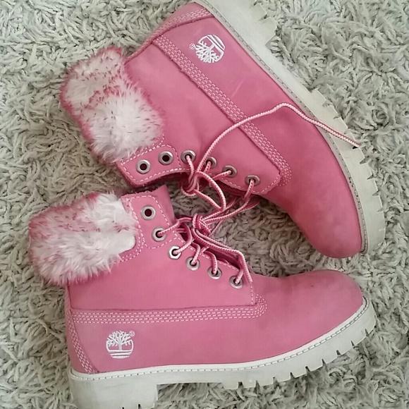 bañera Mirilla Pulido  Timberland Shoes   Little Girls Pink Timberland Fur Boots   Poshmark