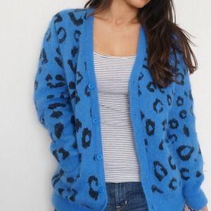 Bright blue and black cheetah print cardigan
