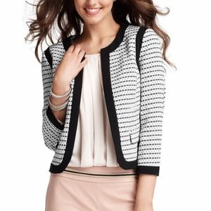 LOFT piped tweed jacket