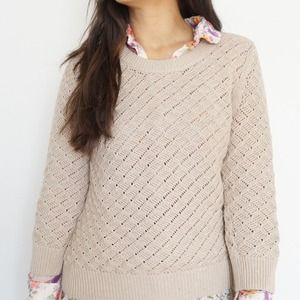 Tan Ribbed Crew Cropped Pullover Sweater