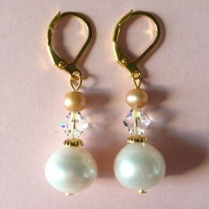 Gold/White Freshwater Pearl Swarovski Earrings