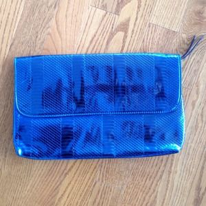 Bags - Metallic Blue Clutch