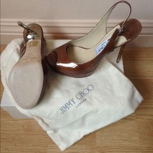 Jimmy Choo enamel patent metallic heel tan color