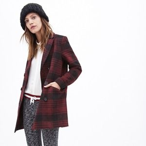 Forever 21 Outerwear - Forever 21 Red Plaid Pea Coat