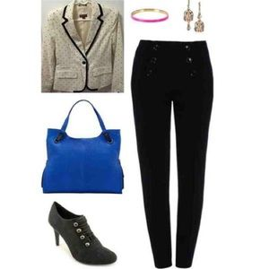 Merona white and black polka dot blazer
